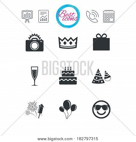 Presentation, report and calendar signs. Party celebration, birthday icons. Fireworks, air balloon and champagne glass signs. Gift box, cake and photo camera symbols. Classic simple flat web icons