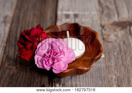Spa Concept. Flowers In Wooden Bowl On Table