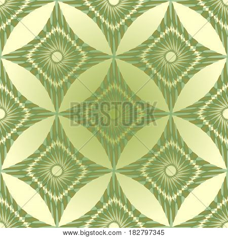 Seamless green abstract vintage background with rhomboid patterns
