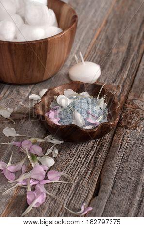 Beautiful Composition. Sea Salt On Wooden Background