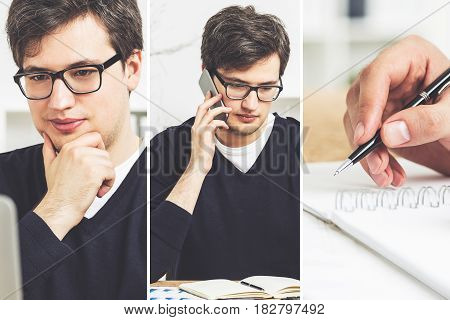 Collage made of three images of a young businessman wearing glasses talking on the phone thinking and writing in a notebook.