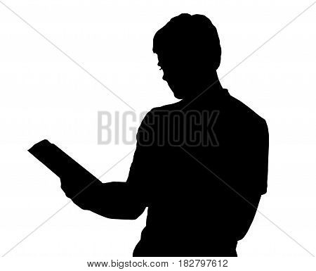 Profile Portrait Silhouette Of Standing Teenage Boy Reading Book