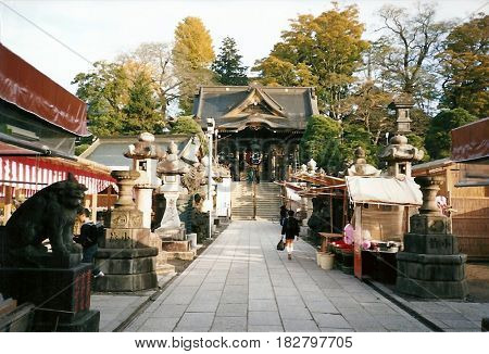 NARITA, CHIBA / JAPAN - CIRCA NOVEMBER, 1990: A boy walks toward the Niomon Gate in the Narita-san Shinshō-ji Shingon Buddhist temple.