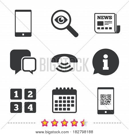 Phone icons. Smartphone with Qr code sign. Call center support symbol. Cellphone keyboard symbol. Newspaper, information and calendar icons. Investigate magnifier, chat symbol. Vector