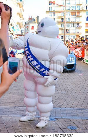 LE MANS FRANCE - JUNE 13 2014: Michelin white man on a parade of pilots racing