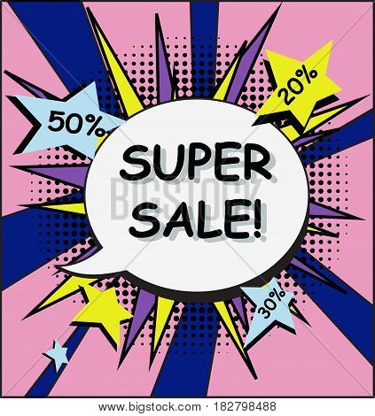 Super Sale Comic Banner Pop Art Halftone Style with Bubble. Cartoon Vector Illustration.