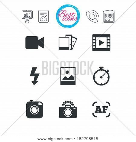 Presentation, report and calendar signs. Photo, video icons. Camera, photos and frame signs. Flash, timer and landscape symbols. Classic simple flat web icons. Vector