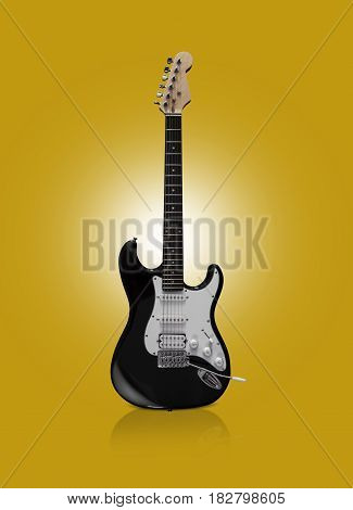CHISINAU, MOLDOVA - April 22, 2017: Black electric guitar on yellow background. With clipping path