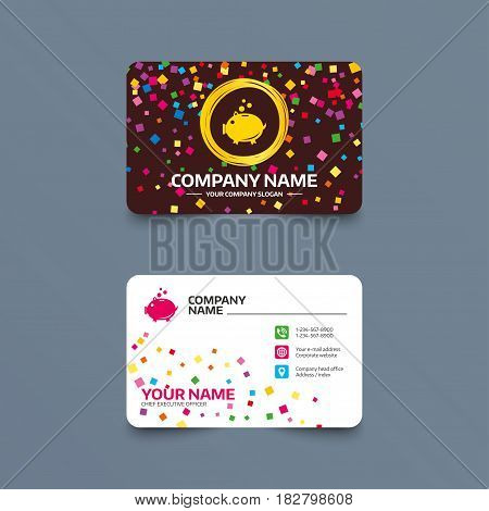 Business card template with confetti pieces. Piggy bank sign icon. Moneybox symbol. Phone, web and location icons. Visiting card  Vector