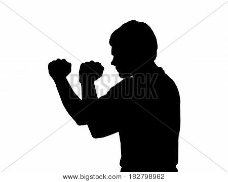 Side Profile Portrait Silhouette Of Teenage Boy In Aggressive Boxing Stance