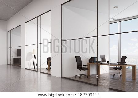 Side view of an office corridor with a row of rooms with glass doors and panoramic windows. 3d rendering.
