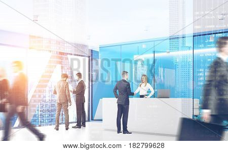 Businesspeople are passing by a reception counter in an office with blue walls. 3d rendering toned image double exposure