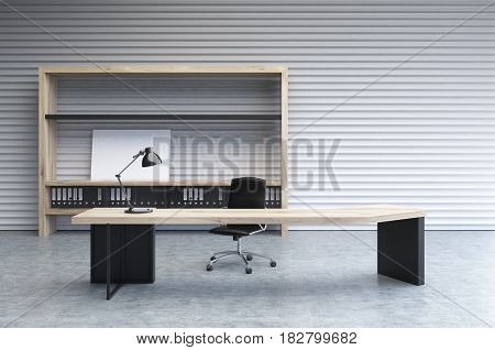 Interior of a clerk office with a white perforated wall a large desk and a bookcase with folders and a small poster. 3d rendering mock up