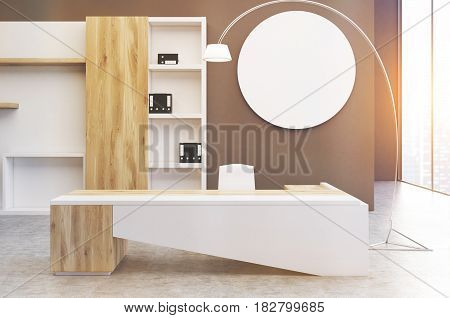 Interior of a clerk office with a gray wall a round poster hanging on it a large desk and a bookcase with folders. 3d rendering mock up toned image