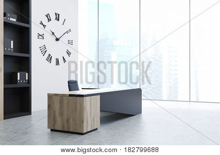 Side view of a CEO office interior with a modern black desk a bookcase and a giant clock hanging on a white wall. 3d rendering.