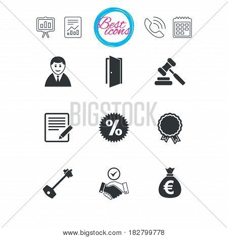 Presentation, report and calendar signs. Real estate, auction icons. Home key, discount and door signs. Business agent, award medal symbols. Classic simple flat web icons. Vector