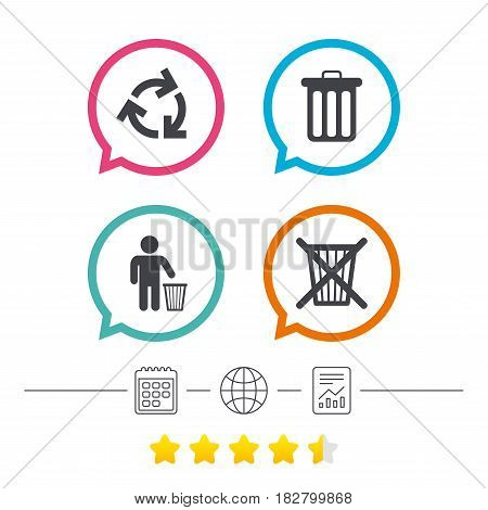 Recycle bin icons. Reuse or reduce symbols. Human throw in trash can. Recycling signs. Calendar, internet globe and report linear icons. Star vote ranking. Vector
