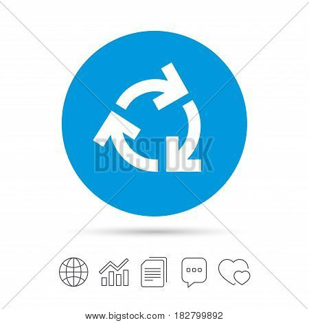 Recycling sign icon. Reuse or reduce symbol.. Copy files, chat speech bubble and chart web icons. Vector