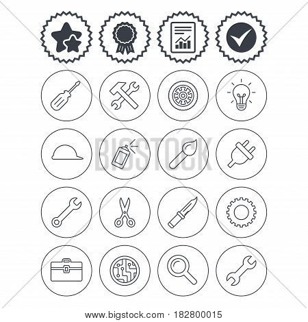 Report, check tick and award signs. Repair tools icons. Hammer with wrench key, wheel and brush. Screwdriver, electric plug and scissors. Circuit board, magnifying glass and construction helmet