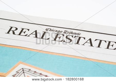 Chicago USA-Feb 12 2017:Chicago Tribune Real Estate Section(for editorial use only)