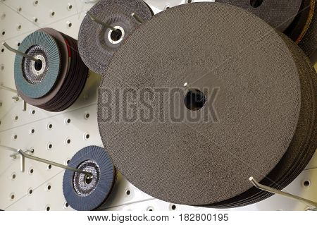 Abrasive and cutting discs panel organizer objects tools