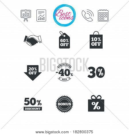 Presentation, report and calendar signs. Sale discounts icon. Shopping, handshake and bonus signs. 20, 30, 40 and 50 percent off. Special offer symbols. Classic simple flat web icons. Vector