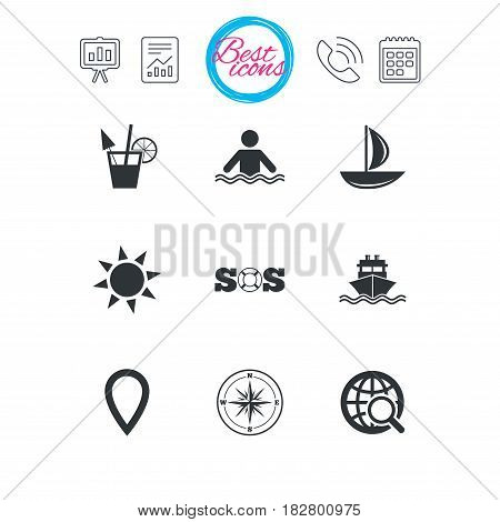 Presentation, report and calendar signs. Cruise trip, ship and yacht icons. Travel, cocktail and sun signs. Sos, windrose compass and swimming symbols. Classic simple flat web icons. Vector