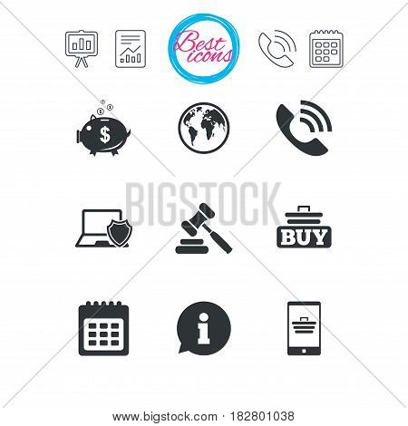 Presentation, report and calendar signs. Online shopping, e-commerce and business icons. Auction, phone call and information signs. Piggy bank, calendar and smartphone symbols. Vector