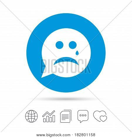 Sad face with tear sign icon. Crying chat symbol. Speech bubble. Copy files, chat speech bubble and chart web icons. Vector