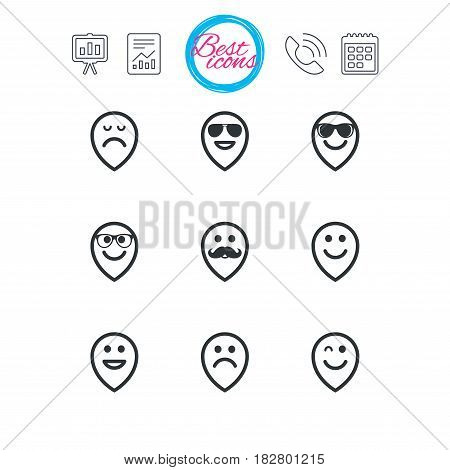 Presentation, report and calendar signs. Smile pointers icons. Happy, sad and wink faces signs. Sunglasses, mustache and laughing lol smiley symbols. Classic simple flat web icons. Vector