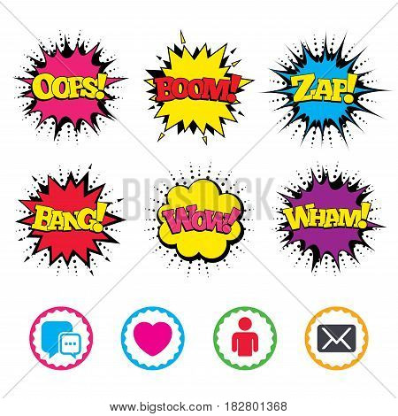 Comic Wow, Oops, Boom and Wham sound effects. Social media icons. Chat speech bubble and Mail messages symbols. Love heart sign. Human person profile. Zap speech bubbles in pop art. Vector