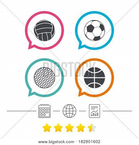 Sport balls icons. Volleyball, Basketball, Soccer and Golf signs. Team sport games. Calendar, internet globe and report linear icons. Star vote ranking. Vector