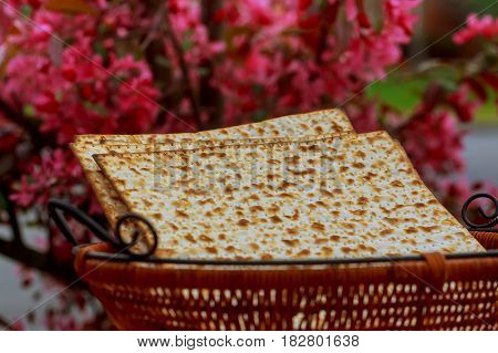 Passover Background. Wine And Matzoh Jewish Holiday Bread Wooden Table