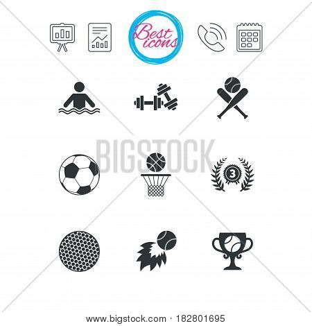 Presentation, report and calendar signs. Sport games, fitness icons. Football, basketball and baseball signs. Swimming, fireball and winner cup symbols. Classic simple flat web icons. Vector