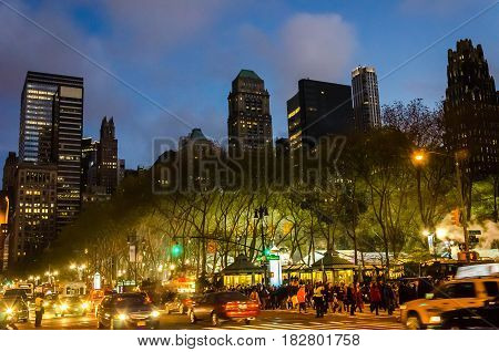 Tourists Walking Through New York City Avenues