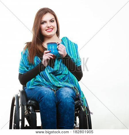 Smiling Disabled Lady.
