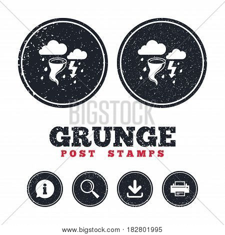Grunge post stamps. Storm bad weather sign icon. Clouds with thunderstorm. Gale hurricane symbol. Destruction and disaster from wind. Insurance symbol. Information, download and printer signs. Vector