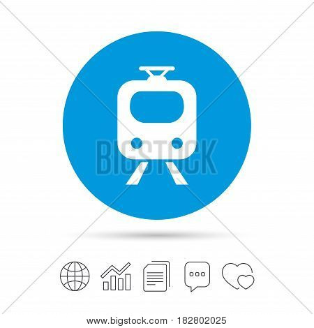 Subway sign icon. Train, underground symbol. Copy files, chat speech bubble and chart web icons. Vector