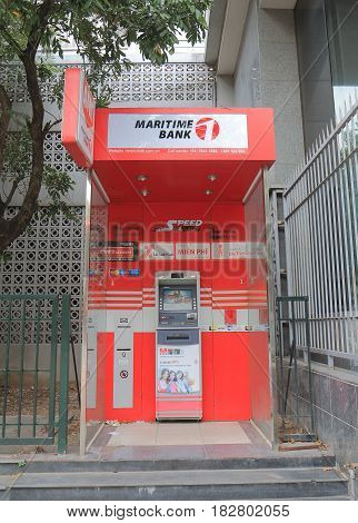 HANOI VIETNAM - NOVEMBER 24, 2016: Maritime Bank ATM. Maritime Bank provides commercial banking services in Vietnam.