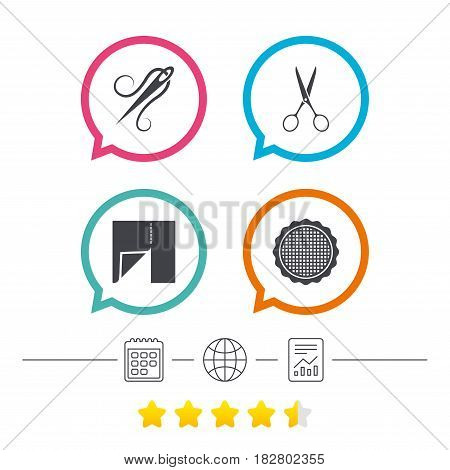 Textile cloth piece icon. Scissors hairdresser symbol. Needle with thread. Tailor symbol. Canvas for embroidery. Calendar, internet globe and report linear icons. Star vote ranking. Vector