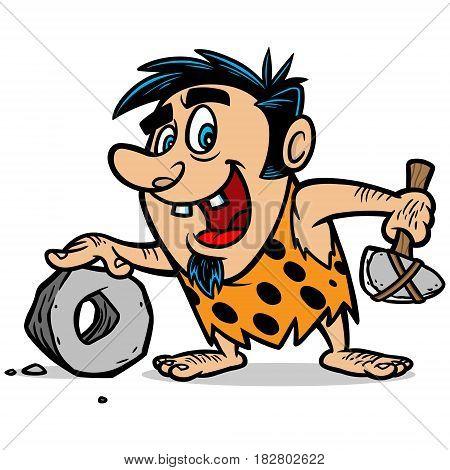 A vector illustration of a cartoon Caveman.