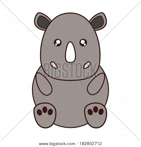 kawaii rhino animal icon over white background. colorful design. vector illustration