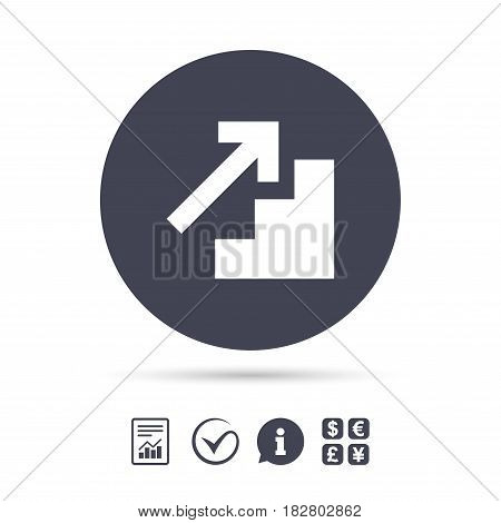 Upstairs icon. Up arrow sign. Report document, information and check tick icons. Currency exchange. Vector