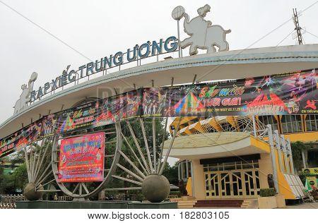 HANOI VIETNAM - NOVEMBER 24, 2016: Hanoi Circus Rapxiec Trung Uong entrance gate.