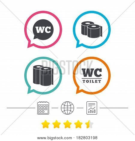 Toilet paper icons. Gents and ladies room signs. Paper towel or kitchen roll. Speech bubble symbol. Calendar, internet globe and report linear icons. Star vote ranking. Vector