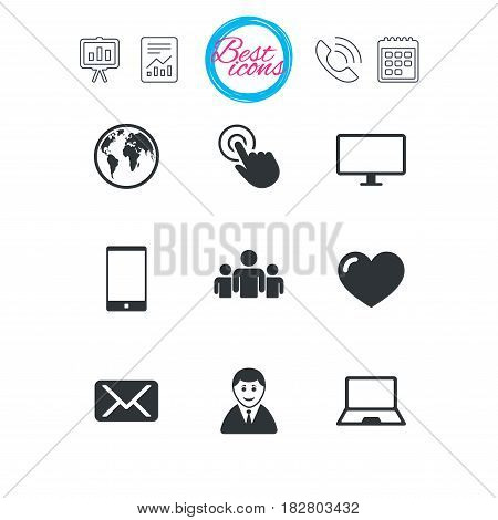 Presentation, report and calendar signs. Web, mobile devices icons. Share, mail and like signs. Laptop, phone and monitor symbols. Classic simple flat web icons. Vector