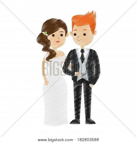 red hair groom and brunette bride icon image cute cartoon vector illustration design