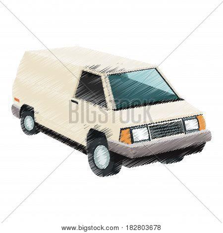 vintage 90s style van car icon image vector illustration design