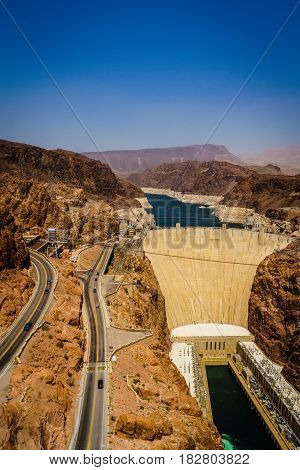 Hoover Dam Hydroelectric power station border of Arizona and Nevada USA