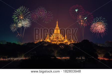 Ancient Temples in Bagan at nigth with fireworks Myanmar